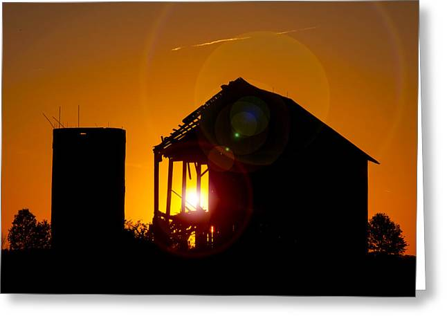 Old Barns Greeting Cards - Sunset Barn Silhouette Greeting Card by Brian Mollenkopf