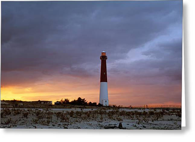 Colorful Photography Greeting Cards - Sunset, Barnegat Lighthouse State Park Greeting Card by Panoramic Images