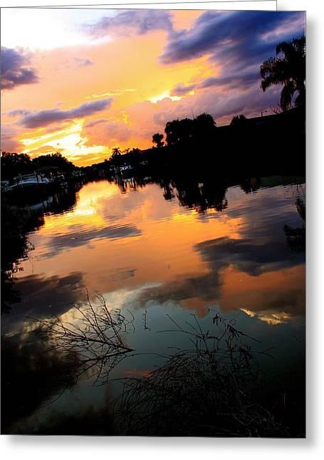Sunset Bay Greeting Card by AR Annahita