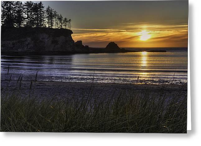 Sunset Bay Paradise Greeting Card by Mark Kiver