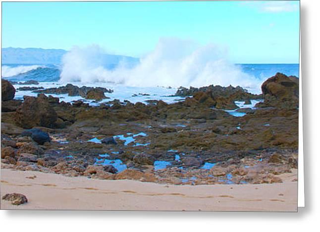 Panoramics Greeting Cards - Sunset Beach Crashing Wave - Oahu Hawaii Greeting Card by Brian Harig
