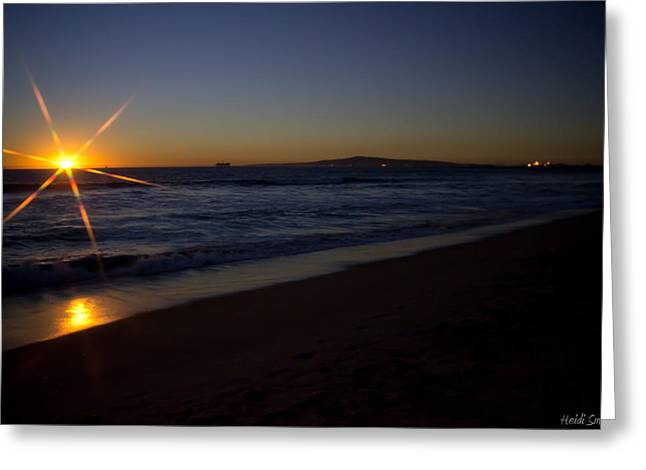 Surf Silhouette Greeting Cards - Sunset Beach Greeting Card by Heidi Smith
