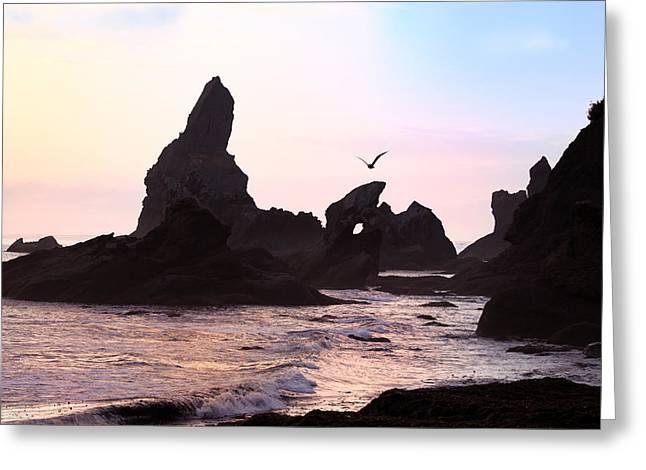 Beaches In Washington Greeting Cards - Sunset Beach in Washington Peninsula Greeting Card by King Wu