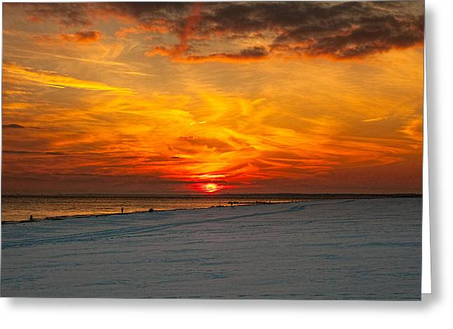 Streetlight Greeting Cards - Sunset Beach New York Greeting Card by Chris Lord