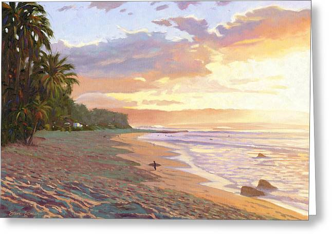 North Shore Paintings Greeting Cards - Sunset Beach - Oahu Greeting Card by Steve Simon