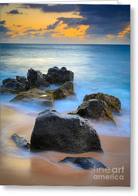 Reflective Greeting Cards - Sunset Beach Rocks Greeting Card by Inge Johnsson