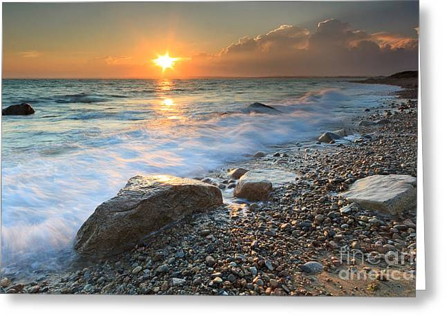 Storm Clouds Cape Cod Greeting Cards - Sunset Beach Seascape Greeting Card by Katherine Gendreau
