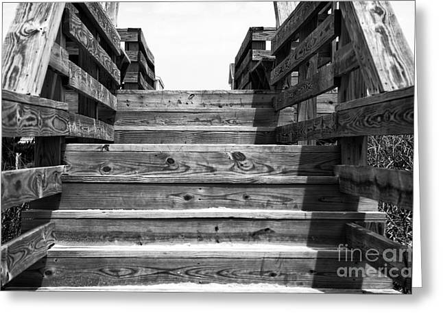 Sunset Posters Greeting Cards - Sunset Beach Stairs mono Greeting Card by John Rizzuto