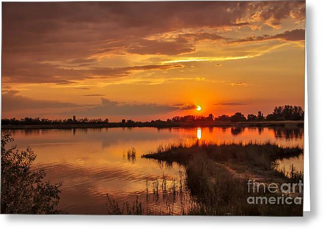 Treasure Valley Greeting Cards - Sunset Beauty Over Water Greeting Card by Robert Bales