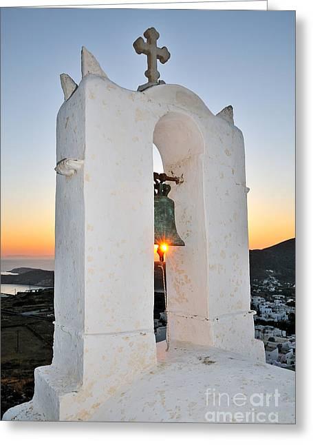 Sunset Behind A Belfry Greeting Card by George Atsametakis