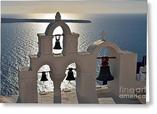 Framed Prints Greeting Cards - Sunset behind a belfry in Santorini island Greeting Card by George Atsametakis