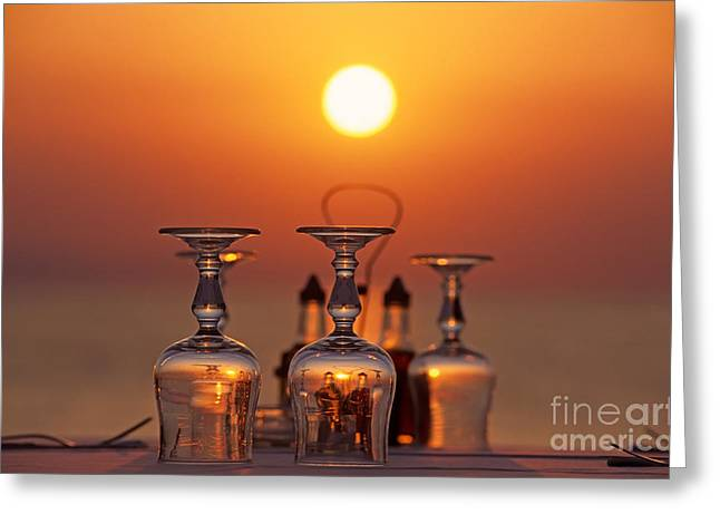 Cyclades Greeting Cards - Sunset behind a restaurant Greeting Card by George Atsametakis