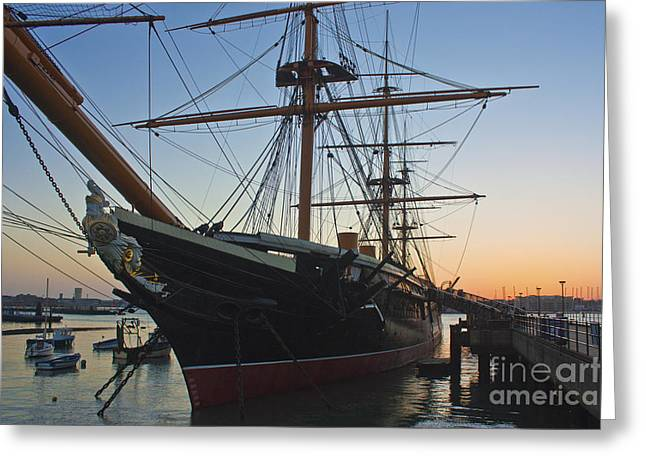 Tall Ships Greeting Cards - Sunset Behind HMS Warrior Greeting Card by Terri  Waters