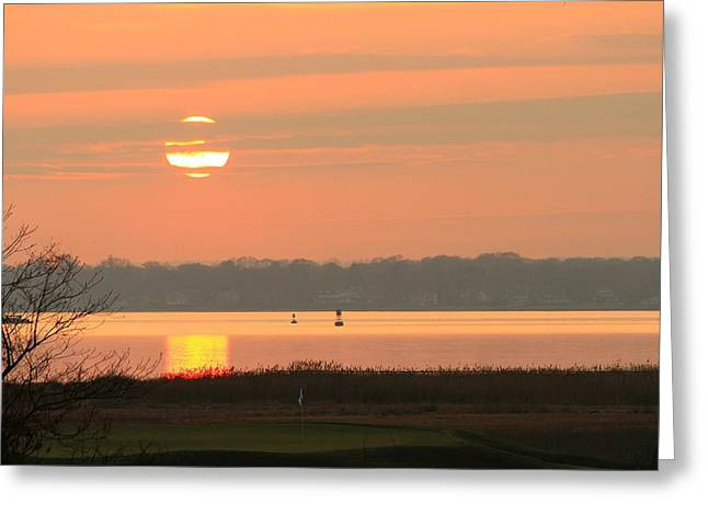 Barrington Greeting Cards - Sunset Behind the 17th Hole. Greeting Card by Heidi Piccerelli