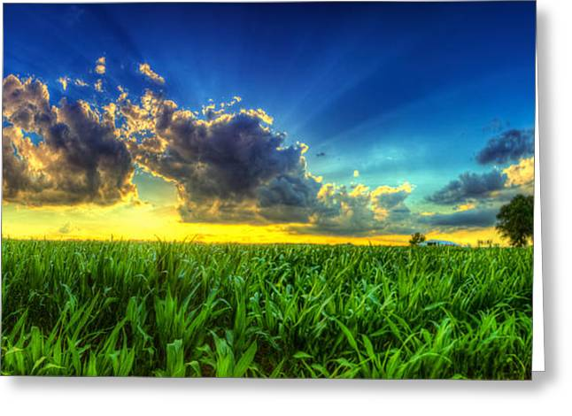 Field. Cloud Greeting Cards - Sunset behind the clouds Greeting Card by  Caleb McGinn