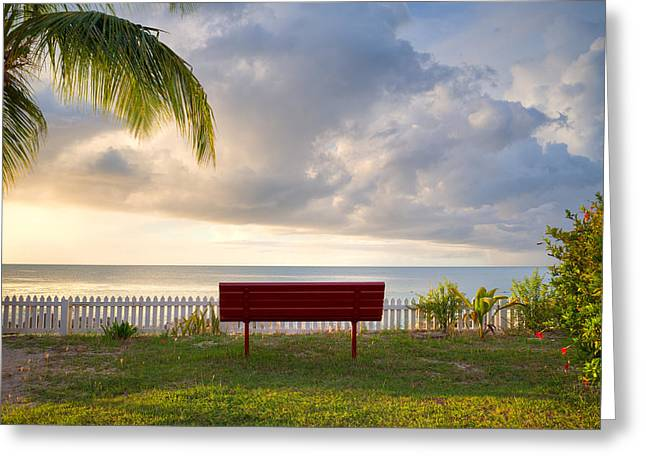 Dickenson Greeting Cards - Sunset Bench Greeting Card by Ferry Zievinger