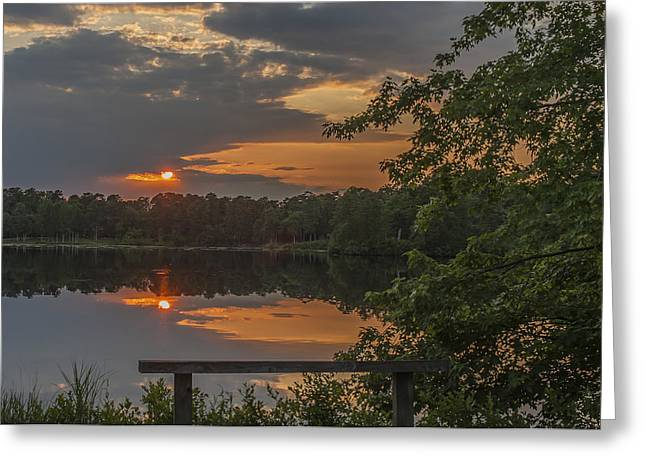 Bathroom Prints Greeting Cards - Sunset Bench Lake Horicon NJ Greeting Card by Terry DeLuco