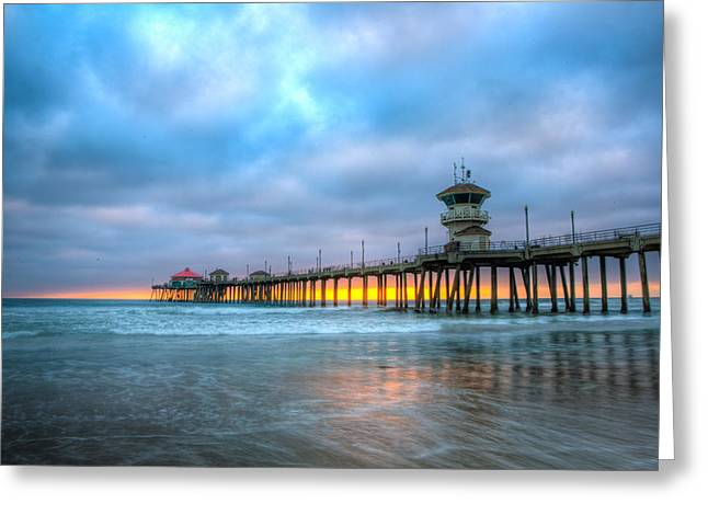 Annual Greeting Cards - Sunset beneath the Pier Greeting Card by Andrew Slater