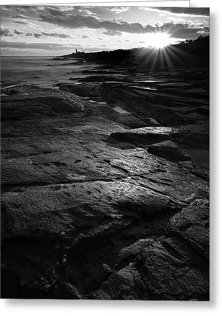 New England Ocean Greeting Cards - Sunset Beyond Black and White Greeting Card by Lourry Legarde
