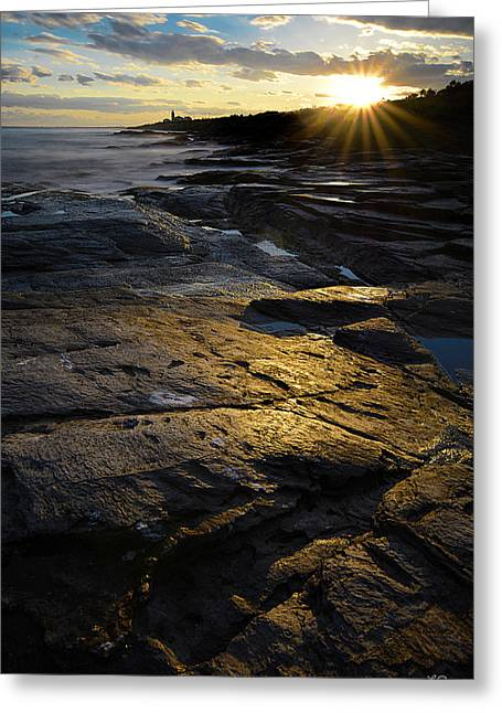 New England Ocean Greeting Cards - Sunset Beyond Greeting Card by Lourry Legarde