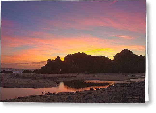 Big Sur Beach Greeting Cards - Sunset Big Sur Greeting Card by Mike Dodak