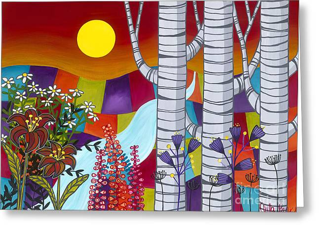 Carla Bank Greeting Cards - Sunset Birches Greeting Card by Carla Bank
