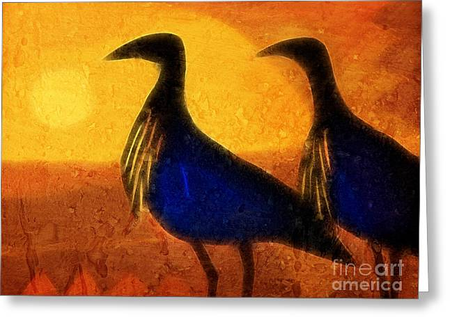Sunset Abstract Greeting Cards - Sunset Birds Greeting Card by Lutz Baar