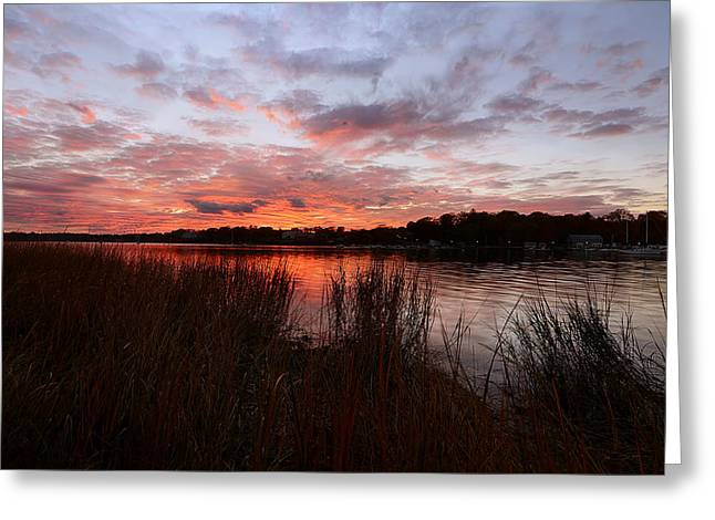 New England Autumn Greeting Cards - Sunset Bliss Greeting Card by Lourry Legarde