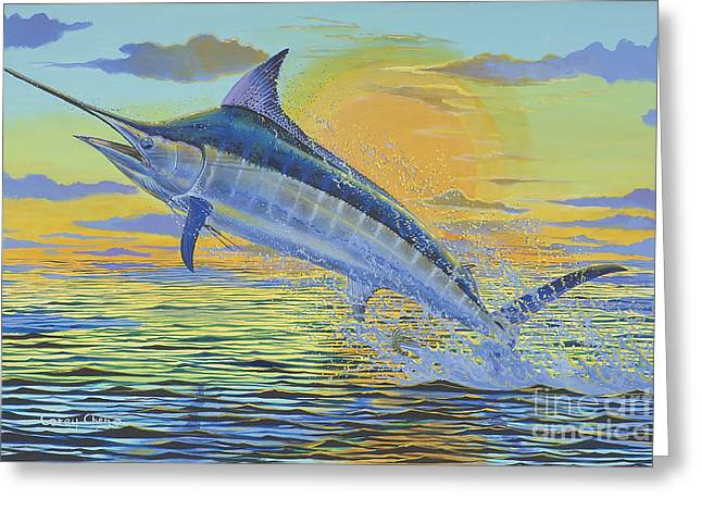 Sportfishing Boats Greeting Cards - Sunset Blue Off0085 Greeting Card by Carey Chen