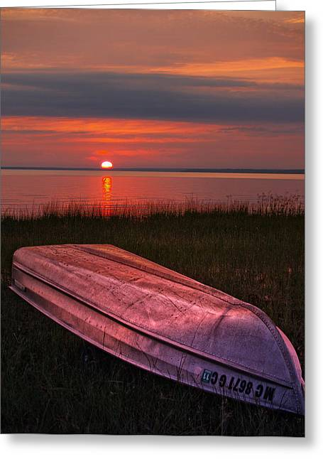 Row Boat Greeting Cards - Sunset Boat Greeting Card by Brian Mollenkopf
