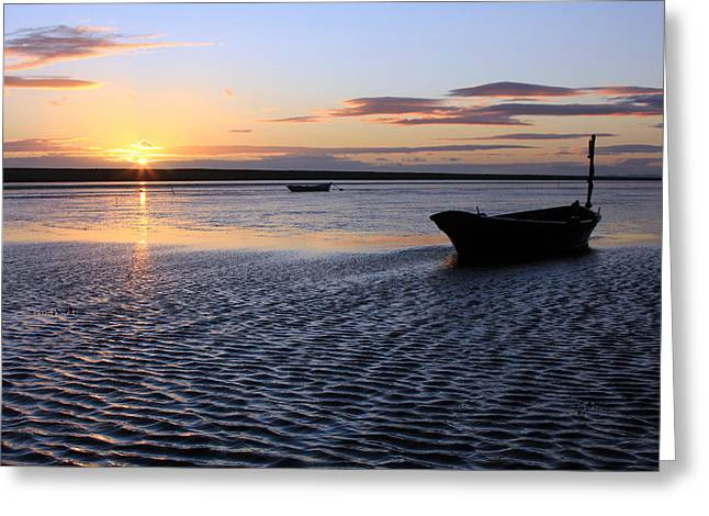 Sunset Boat Greeting Card by Ollie Taylor