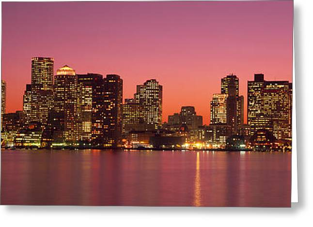 Reflections Of Sky In Water Greeting Cards - Sunset Boston Ma Greeting Card by Panoramic Images