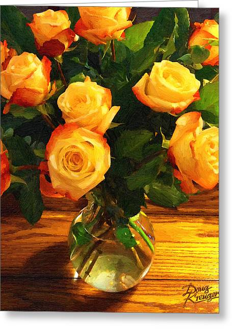 Bouquet Of Roses Greeting Cards - Sunset Bouquet Greeting Card by Doug Kreuger