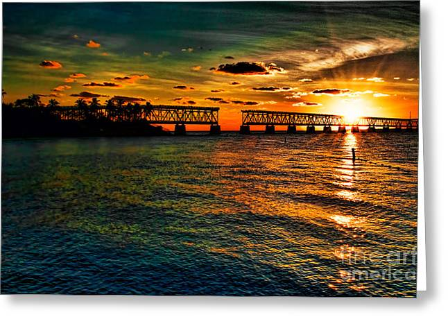 Bahia Honda State Park Greeting Cards - Sunset Bridge Greeting Card by Photos By  Cassandra