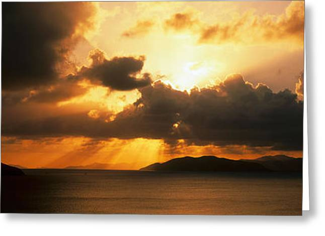 Radiates Greeting Cards - Sunset British Virgin Islands Greeting Card by Panoramic Images