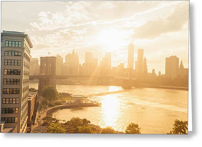 New York City Greeting Cards - Sunset - Brooklyn Bridge - New York City Greeting Card by Vivienne Gucwa