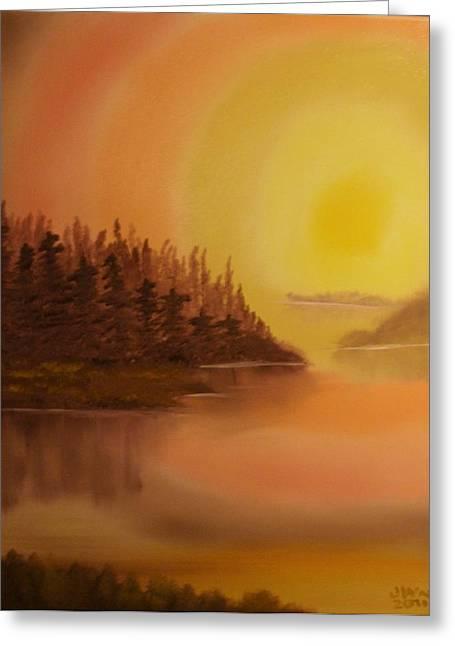 Bob Ross Paintings Greeting Cards - Sunset Brown Island  Greeting Card by James Waligora