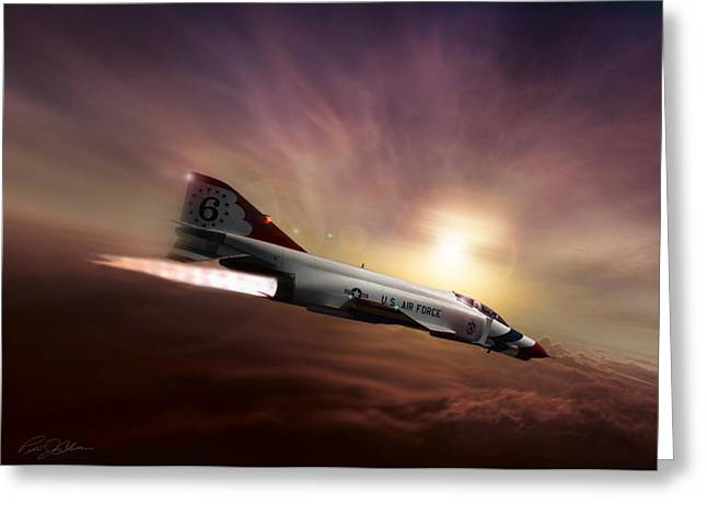 Interceptor Greeting Cards - Sunset Burn Greeting Card by Peter Chilelli