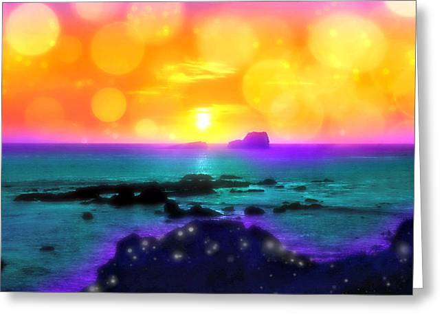 Cambria Digital Greeting Cards - Sunset Burst Greeting Card by Alma Yamazaki
