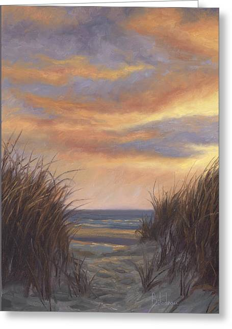 Beach Scenery Greeting Cards - Sunset By The Beach Greeting Card by Lucie Bilodeau
