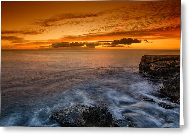 Koolina Greeting Cards - Sunset by the cliff Greeting Card by Tin Lung Chao