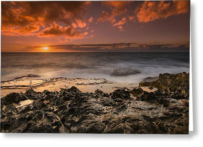 Koolina Greeting Cards - Sunset by the sea Greeting Card by Tin Lung Chao