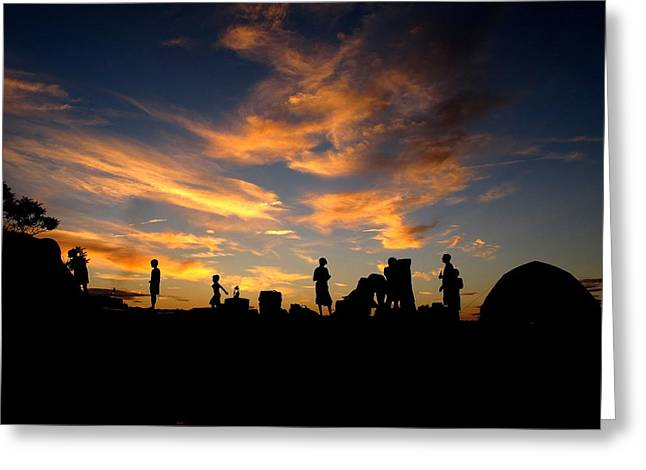 Sunset Camp Greeting Card by Donnie Freeman