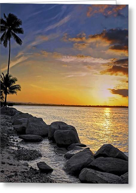 Puerto Rico Greeting Cards - Sunset Caribe Greeting Card by Stephen Anderson