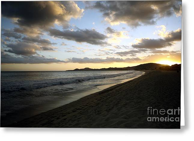 Salt Sea Greeting Cards - Sunset Greeting Card by Cheryl Young