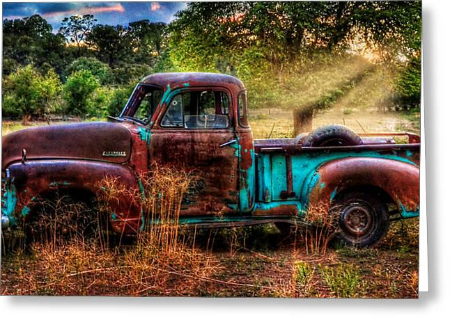Old Pickup Greeting Cards - Sunset Chevy Pickup Greeting Card by Ken Smith