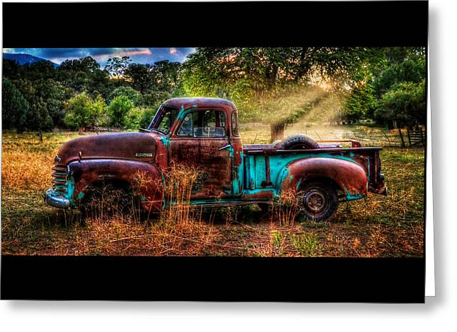 Sunset Chevy Pickup Greeting Card by Ken Smith