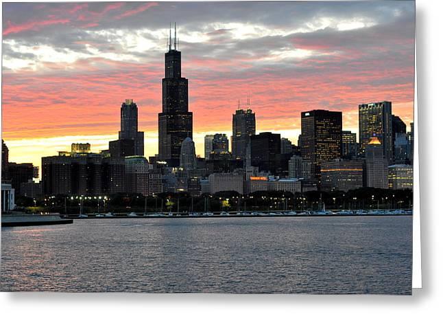 sunset Chicago Greeting Card by David Flitman