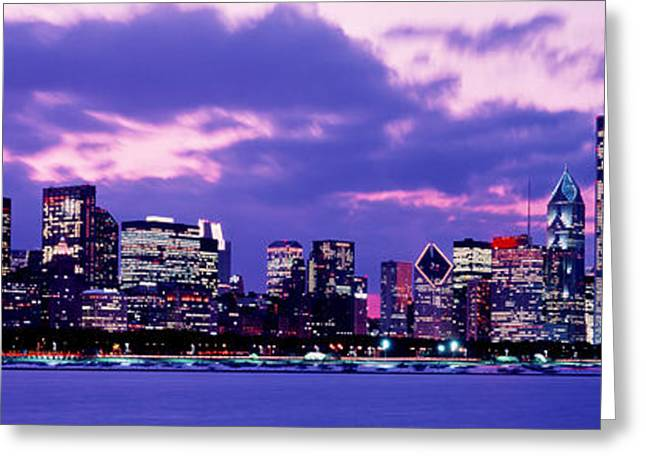 Lake Shore Drive Greeting Cards - Sunset Chicago Il Usa Greeting Card by Panoramic Images