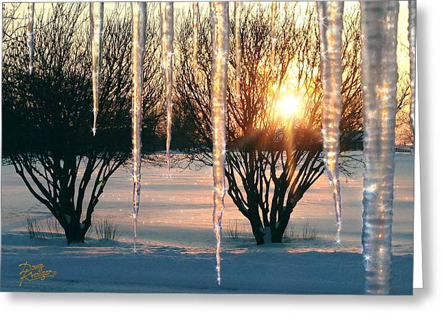 Snow Covered Field Greeting Cards - Sunset Cicles Greeting Card by Doug Kreuger